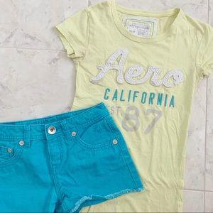 Set: Aeropostale Logo Tee & Blue Justice Shorts